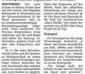 15 November opent het wintersportseizoen in Winterberg